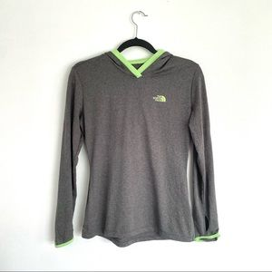 The North Face Hooded Long Sleeve Shirt Gray Green